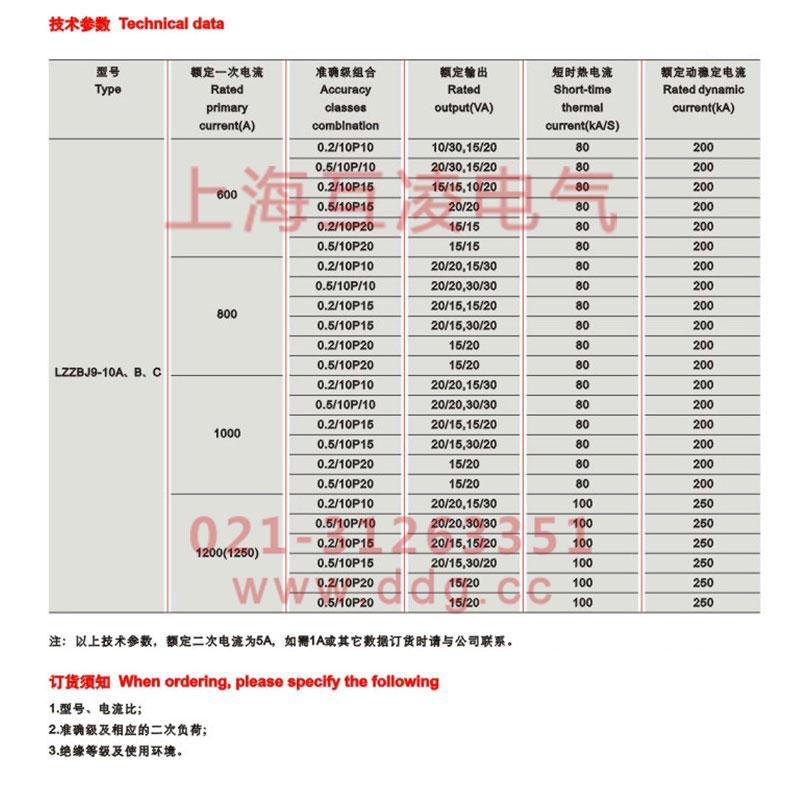 lzzbj9-10电流互感器参数